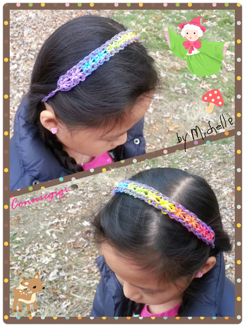 Rainbow Starbrust headband made by Michelle