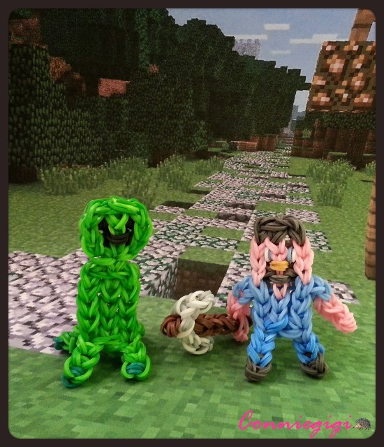 Rainbow Loom Minecraft Steve with pickaxe and Creepy